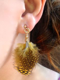 Yellow Spotted Feather Gold Filled Earrings • Boho • Artsy • 14k GF wire, components & ball stud • Chic statement dangle • Tropical tribal