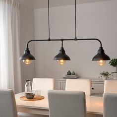AGUNNARYD lampu gantung dg 3 bohlam, hitam | IKEA Indonesia Ikea Lighting, Led Track Lighting, Cool Lighting, Salon Lighting, Led Ceiling Lights, Ceiling Lamp, Hanging Lights, Hanging Lamps, Ikea Hanging Light
