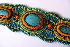 Bead Embroidery Bracelet - Summer turquoise beaded bracelet mothers day orange green teal and bronze beadwork bracelet
