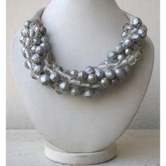 Silver Beaded Bohemian Necklace / Statement Necklace / Bib Necklace / Chunky Necklace - Beaded Jewelry