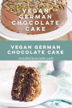 Vegan German Chocolate Cake Recipe, Chocolate Recipes, Vegan Cake, German Chocolate Cake Frosting, Vegan Coconut Cake, Easy Vanilla Cake Recipe, Easy Cake Recipes, Vegan Treats, Vegan Foods