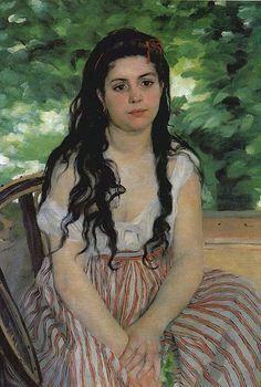 Pierre-Auguste Renoir, 'Lise the Bohemian' (1868). on ArtStack #pierre-auguste-renoir #art