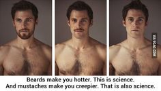beards!!! This is soooo true!!! Except for my dad....he's no creepy mustache wearer!!! haha