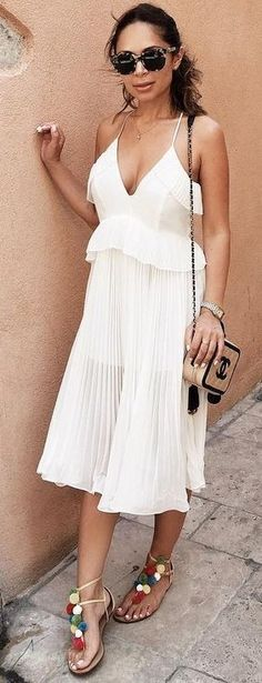 #summer #trending #outfits | All White + Pleats + Pom Poms