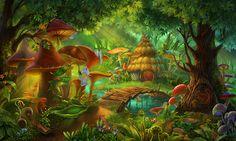 illustration by Yanina Kazankova, via Behance Fantasy Art Landscapes, Fantasy Landscape, Landscape Art, Fantasy Forest, Magic Forest, Fantasy Places, Fantasy World, Casa Anime, Mushroom Art