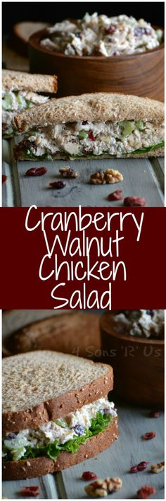Stir the seasonal flavors of Fall right into this yummy sandwich spread. A lightened up chicken salad that embraces seasonal Fall flavors. This Cranberry Walnut Chicken Salad is quick & easy, but tast (Gourmet Sandwich Recipes) New Recipes, Dinner Recipes, Cooking Recipes, Favorite Recipes, Healthy Recipes, Walnut Recipes, Kraft Recipes, Cooking Ideas, Cheesesteak