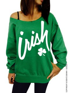 For this St. Patrick's Day grab this cute Irish Clover womens off the shoulder slouchy oversized sweatshirt from Resis-Dentz Denim + Design. St Patricks Day Clothing, Independance Day, St Patrick's Day Outfit, Slouchy Sweater, St Patrick Day Shirts, Clothes For Women, My Style, Sweatshirts, Hoodies