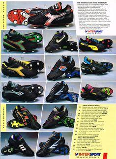 #Intersport Football boots #Umbro #Puma #Lotto #Quaser #Mitre #Diadora #HiTec #Shoot! 1991-08-19 Football Shop, Retro Football, Vintage Football, Football Shirts, Soccer Boots, Football Boots, Soccer Cleats, Diadora Sneakers, Sneakers Nike
