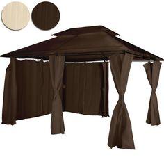 Miadomodo – Pavillon tonnelle de jardin – marron – surface au sol : 2,4 x 3,4 m – toit en toile doublée – COLORIS AU CHOIX: Mettez-vous à…