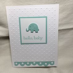 Martha Stewart Elephant Punch, Tim Holtz Border Cut, Stampin Up Stamp and Dots Embossing Folder.