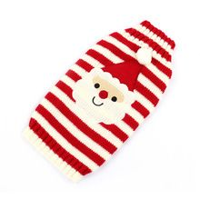 1Pcs Red and White Santa Claus Striped Cartoon Dog Sweater Clothes Christmas Sweater Cats Xmas Knitted Coat Apparel(Hong Kong)