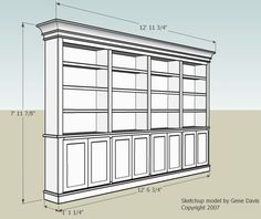 Built-In Bookshelf.  Nice dimensions and doors.  how to raise up on feet to be…
