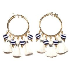 """More stripes! Different size. All small white cotton tassels with navy & white striped resin beads. Gold-plated hoops. Approx 2"""" long. We love stripes."""