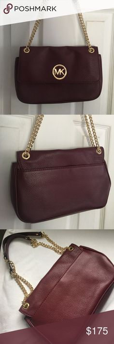 Michael Kors Purse Wine colored shoulder bag, chains can be adjusted to be one long one or two short ones. Like new only used once! Michael Kors Bags Shoulder Bags