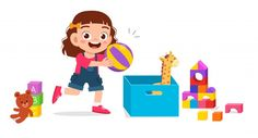 Happy Cute Little Kid Girl Playing With Toys Games For Kids, Art For Kids, Camping Crafts For Kids, Flashcards For Kids, Go Math, Illustration Story, Baby Yoga, Kids Vector, Dibujos Cute