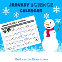 January Science Calendar - fun science and just for fun events to observe during the month of January - TheHomeschoolScientist.com