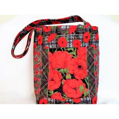 Quilted Knitting Bag, Red Poppy Tote Bag, Stand Alone Tote Bag, Carry... ($31) ❤ liked on Polyvore featuring bags, handbags and tote bags