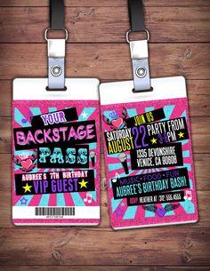 Retro neon VIP PASS backstage pass Vip invitation by LyonsPrints