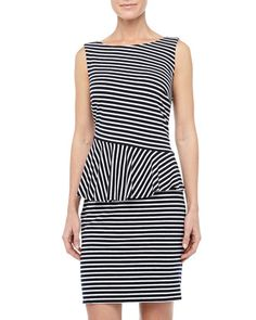 Laundry by Shelli Segal Striped Asymmetric-Peplum Dress, Optic White/Black - Neiman Marcus Last Call