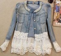 Women Feminino Slim Lace Patchwork Beading Denim Lady Elegant Vintage Jackets CoatH-N161118-52