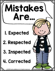 This FREE printable 10 page poster set is a great way to create a positive classroom climate. Promote a growth mindset inside your classroom and help your students remember that mistakes are expected as part of the learning process. Use for back to school, as a display, decor, in personal notebooks, or send home with parents for support. Perfect for kindergarten, 1st, 2nd, 3rd, & 4th grade and works for all subjects. (kinder, first, second, third, fourth graders, bulletin board freebie)