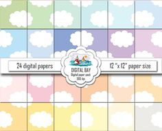 """CLOUDS - Digital paper pack – Instant download - Scrapbook Paper – Seamless - 12"""" x 12"""" - Commercial use –Digital background"""