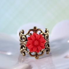 Reddish pink and antique bronze ring  adjustable by ShyofPerfect, $5.00 oredered