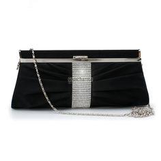 Pochette soirée noire en satin au plissé rehaussé de strass au milieu pochette portefeuille femme pas cher
