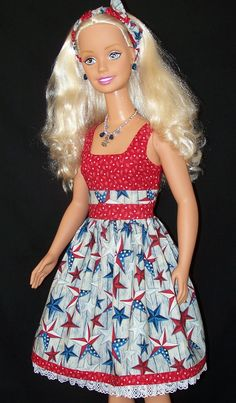 Our stunning My Size Barbie is proudly showing off her star studded patriotic colors with this cute dress just in time for the 4th of July!