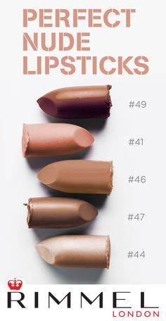 Looking for the best nude lipstick to complement your skintone? Look no further than Rimmel London's Lasting Finish Nude Collection by Kate Moss. It coats your lips in a satin finish that's long-lasting and oh so chic!   Shades - #49, #41, #46, #47, #44