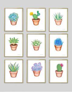 Cactus watercolor art print. Succulent painting. Plant wall