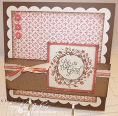 Remarkable Wreath card by Tamytha Jenkins. So sweet. I need to try that scallop square shape on my cricut.