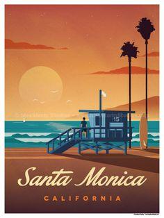 Image of Santa Monica Poster #vintagetravelposters