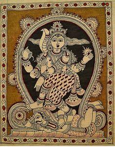 A stunning Kalamkari Indian painting showing Lakshmi & Snake. Black Canvas Paintings, Indian Art Paintings, Ancient Indian Art, Indian Folk Art, Madhubani Art, Madhubani Painting, Hindus, Art Forms Of India, Kalamkari Designs