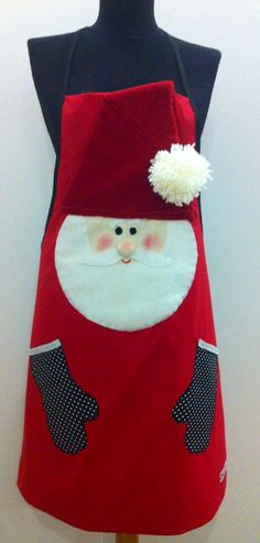 Get ready for some serious holiday baking with this fun, Santa Claus-embellished, hand-crafted apron. Christmas Aprons, Christmas Sewing, Father Christmas, Christmas Makes, Winter Christmas, All Things Christmas, Christmas Projects, Holiday Crafts, Sewing Crafts