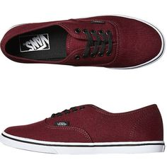 Vans Womens Authentic Lo Pro Shoe ($20) ❤ liked on Polyvore featuring shoes, sneakers, footwear, red, womens footwear, waffle trainer, sport sneakers, vans trainers, sports trainer and sport shoes