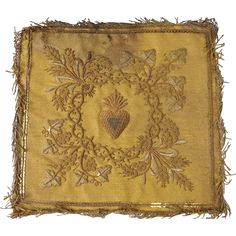 Gold embroidered pall or chalice cover, Sacred Heart, 18th century, French school