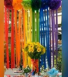 Rainbow Loom Party, Rainbow Parties, Rainbow Paper, Rainbow Wedding, Rainbow Theme, Rainbow Decorations, Birthday Decorations, Mexican Party, Diy Décoration