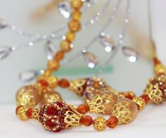 Golden beaded necklace with antique hadmade glass, OOAK free shiping by TakhisisArtshop on Etsy