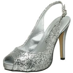 """• You'll be the life of the party in this sparkly sandal • Synthetic metallic upper with glitter finish • Adjustable ankle strap buckle • Lightly cushioned footbed • Manmade sole with 3/4"""" platform • 4"""" heel height  http://www.amazon.com/dp/B0011MUK4C/?tag=icypnt-20"""