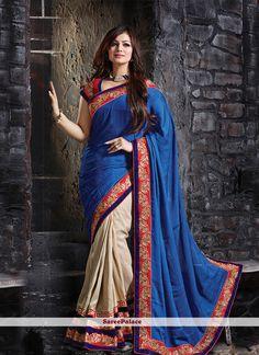 Ayesha Takia Blue Patch Border Work Designer Saree