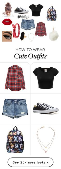 """""""Brooke outfit"""" by puppiesrule on Polyvore featuring R13, Converse, Charlotte Russe, Jaeger, Michael Kors and Lime Crime"""