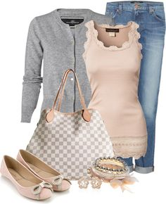 """Pretty in Pink...and Gray"" by happygirljlc ❤ liked on Polyvore"