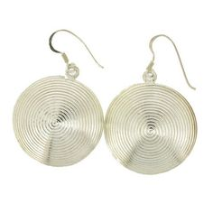 Round Sterling Silver Disc Dangle Earrings