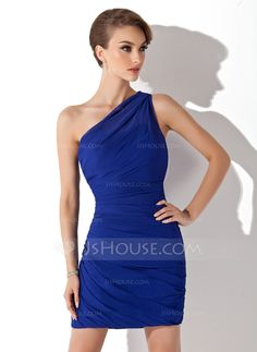 Cocktail Dresses - $103.99 - Sheath One-Shoulder Short/Mini Chiffon Cocktail Dress With Ruffle (016008436) http://jjshouse.com/Sheath-One-Shoulder-Short-Mini-Chiffon-Cocktail-Dress-With-Ruffle-016008436-g8436?ver=0wdkv5eh