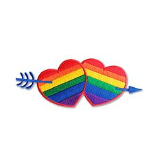 LGBT Rainbow Heart and Arrow Embroidered Iron on Patch/ Love Patch / Iron on Applique