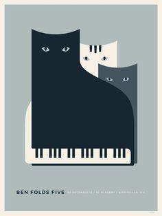 Ben Folds Five concert poster by Jason Munn:
