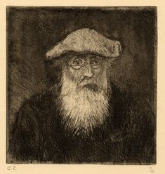 Camille Pissarro (1830-1903) ~ Self-Portrait Dry Point Aquatint, c.1890