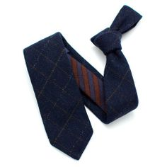 Lila Mae - General Knot :: Midnight and Tobacco Fine Check and Stripe Wool Necktie, $108.00 (http://www.lilamae.com/general-knot-midnight-and-tobacco-fine-check-and-stripe-wool-necktie/)