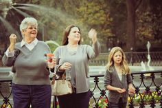 3 Generations of lovely women making a wish at Forsyth Park fountain!  I bet they're wishing they could win the Visit Savannah - No Boys Allowed pinterest contest!  #Savannah #NoBoysAllowed